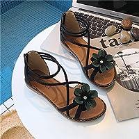ZHIRONG レディースサンダルボヘミア夏オープントウフラワーアンクルストラップサンダル快適ローマビーチシューズグリーンベージュブラック (色 : ブラック, サイズ さいず : EU39/UK6.5/CN40)