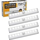PeakPlus LED Motion Sensor Light 10 LED Battery Operated Lights - LED Under Cabinet Lighting - Stick On Lights Magnetic Wirel