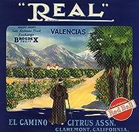 Realブランド–Claremont、カリフォルニア–Citrusクレートラベル 9 x 12 Art Print LANT-57665-9x12