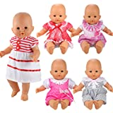 Barwa Handmade 5 Pcs Dresses Clothing Lovely Clothes Costume for 14 to 18 Inch Alive Baby Doll and American Girl