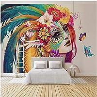 Xbwy カスタムサイズの壁画壁紙ヨーロッパスタイルカラフルなフィギュア写真壁画リビングルームの寝室-200X140Cm