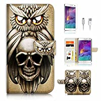 Samsung Galaxy Note 5 Flip Wallet Case Cover & Screen Protector & Charging Cable Bundle! A4225 Skull Owl
