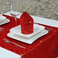 ラグジュアリークリスマス星テーブルランナー–Large裾–Anti Stain Resistant–Pack of 2単位–レッド