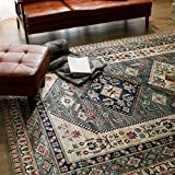 LOWYA (ロウヤ) 絨毯 ラグ ペルシャ絨毯風 ウィルトン織り 短め毛足 軽量 ベルギー産 カーペット 正方形 Mサイズ 2.5畳~3畳 185x185 ダイヤ柄 グリーン オールシーズン おしゃれ