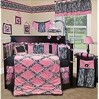 SISI Baby Bedding - Pink Minky Zebra 13 PCS Crib Bedding by Sisi