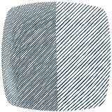 白山陶器 重ね縞 反角盛皿 27x27cm