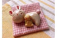 人形師の手造り品 濵田ひろこ 手造箸置き 座布団付き お昼寝うさぎ