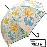 雨晴兼用 北欧 バード柄 ジャンプ傘 UVカット 日傘 レディース 長傘 紫外線を99% カット!シルバーコーティング 傘 (ホワイト)