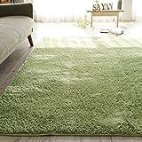 ウレタンの厚み約8mm シャギーラグ ( レナ 185x185cm グリーン ) ホットカーペット 床暖房対応