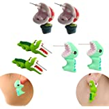 (Chomper and Dinosaur and Alligator) - IYSHOUGONG 3 Pair 3D Clay Earrings Handmade Biting Your Ear Animal Polymer Clay Stud E