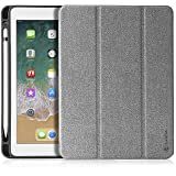 """tomtoc Tablet Case for New iPad 9.7 with Pen Holder for Apple Pencil, tomtoc 9.7"""" Slim Protective Smart Cover Hard Case for Apple 9.7 inch New iPad 2018 2017, Tri-fold Stand Cover"""