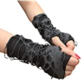 Mrotrida Women's Punk Fingerless Glove Cosplay Ripped Gloves for Halloween Costume Party 1Pair Black
