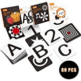 Upgraded 2020 TUMAMA Baby Black White Flash Cards, High Contrast Visual Stimulation Learning Flashcards, Learning Alphabet Sh
