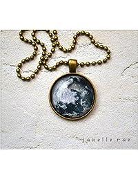 ガラスのペンダントのネックレスは、満月の画像- 1インチガラスのペンダントのネックレスは、24の「終了」を選択