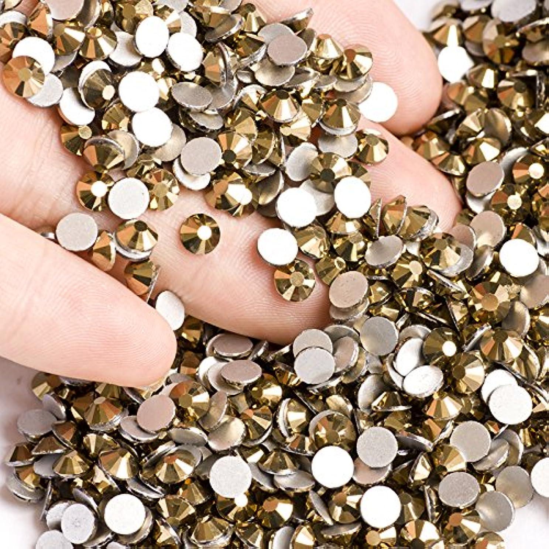 廃止クリーム虹高品質ガラス製ラインストーン ゴールド 業務用パック1440粒入り ネイル デコ レジンに (1.2mm (SS3) 約1440粒) [並行輸入品]