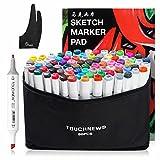 Touchnew 水彩毛筆 マーカーペン ダブルペン先/ツイン先 +A4ドローイングブック+Parblo 2本の指グローブ+ペンシルバッグ (80色) 保証提供いたしておりますので、問題がございましたら弊社と連絡してください。無料交換或いは新品再送を手配させていただきます