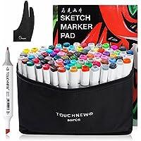 Touchnew 水彩毛筆 マーカーペン  ダブルペン先/ツイン先 +A4ドローイングブック+Parblo 2本の指グローブ+ペンシルバッグ (80色)