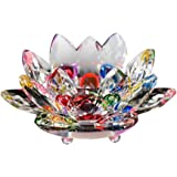 Lotus Flower Candles Holder, ZZM Crystal Glass Lotus Flower Candle TeaLight Candle Holder Buddhist Candlestick Home Wedding D