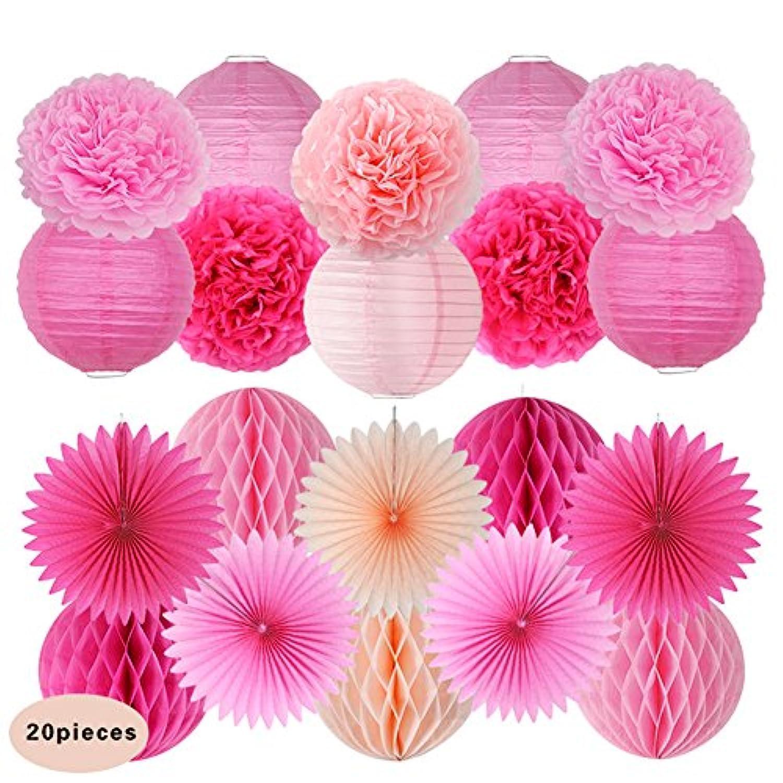 TeFuAnAn 紙提灯、ポンポンフラワー 、ペーパーハニカムボールとペーパーファンの組み合わせ 20個セット パーティー 結婚式 誕生日 飾り付け 紙花 ミックスカラー (濃ピンク、ピンク、バラ粉)