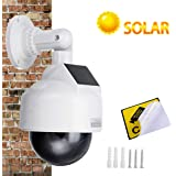 YSUCAU Solar Powered Dummy Fake CCTV Security Dome Camera with Flashing Red LED Light & Warning Security Alert Sticker Decal,