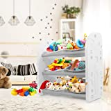 Kids Toy Organiser 6 Removable Bin Storage - Grey/White