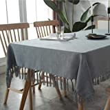 Table Cloth, Rectangle 53 x 78 Inch Tablecloth, Wrinkle Free Anti-Fading Tablecloths, Heavy Weight Tassel Table Cover for Din