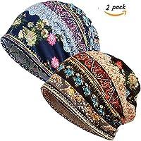 Women Turban Headwear Chemo Hat - 100% Cotton Elastic Thin Cancer Cap for Women Retro Beanies Hat