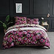 Lausonhouse Cotton Quilt Cover Set,100% Cotton Floral Printing Doona Cover Set Multi Colors - King