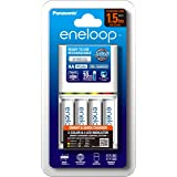 Panasonic AA & AAA Eneloop Smart & Quick Battery Charger with 4-Pack AA Ready-to-Use Ni-MH Rechargeable Batteries (K-KJ55MCC4