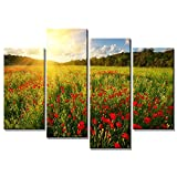 Arta 自然風景壁飾り アートパネル絵画 インテリアアート「花海」キャンバス絵画 4枚