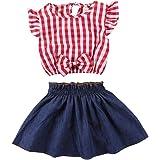 2Pcs Toddler Baby Girls Plaid Striped Bowknot Shirt Top+Ruffles Denim Skirt Summer Dress Set