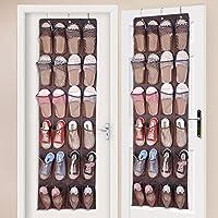 ドア掛け式靴オーガナイザー 24ポケット 大きな生地 ナイロンメッシュ収納ポケット クローゼットアクセサリー 吊り下げシューズハンガー カスタマイズメタルクローゼットドアシューズオーガナイザーフック L ブラウン