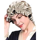 LilySilk(リリーシルク)天然シルク100% ナイトキャップ 枝毛防止 保湿美髪 ロングヘア用 お休みキャップ 就寝用 産後用 (双面タイプ/コーヒー&ブラック)