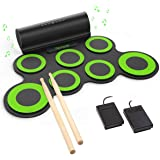 PAXCESS Electronic Drum Set, Roll Up Drum Practice Pad Midi Drum Kit with Headphone Jack Built-in Speaker Drum Pedals Drum St