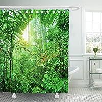 varyhomeシャワーカーテンFresh Green Rainforest Summer Time国立公園コスタリカのWonderful Wild Nature中央アメリカ防水ポリエステル生地72x 72cmセットフック付き