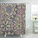 Mildew シャワーカーテン フック付き 生地 ボヘミアン 上品 花柄 家具用カーテン 曼荼羅 珍しい花柄 ピンク 60×72インチ 装飾的なバスルームの装飾
