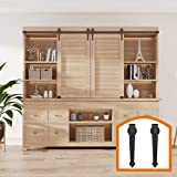 HomeDeco Hardware Mine Style Wooden Cabinet Sliding Barn Door Hardware Track Kit 2 Hang 6FT Double Door Kit Black