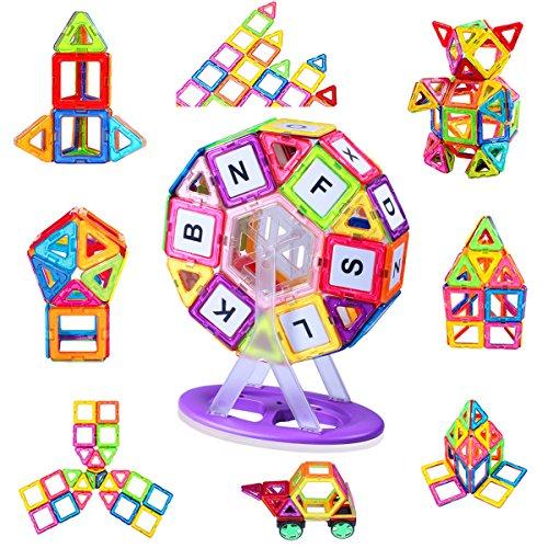 磁石ブロック マグネット おもちゃ 知育玩具 子供プレゼント マグネットブロック 磁気ブロック43個 他の車輪・観覧車・パネルパーツ44個 マグネット パズル 立体 外しにくい 磁石 積み木 カラフル磁性構築ブロック AUGYMER想像力と創造力を育てる知育 おもちゃ 男の子 女の子 おもちゃ 贈り物 誕生日 プレゼント 出産祝い 入園 クリスマスギフトDIY 収納ケース付き