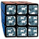 ヤギの家族 スピードキューブ 3x3x3 立体パズル ポップ防止 回転スムーズ 競技用 55x55x55mm 知育玩具 脳トレ プレゼント カスタムデザイン