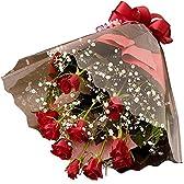 """翌日配達お花屋さん 情熱の赤バラで親愛なる方への熱い想いを伝えます""""LOVE ROSE""""赤バラとかすみ草の花束"""