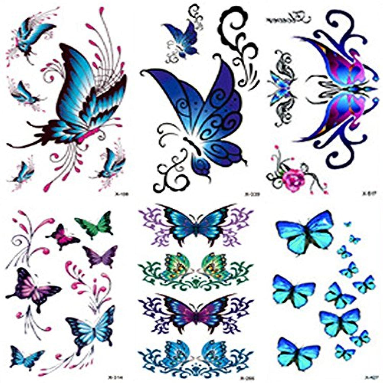 Qufan タトゥーシール 蝶 青 長持ち 6枚セット タトゥーステッカー ボディーシール 刺青シール 防水 子供 レディース 腕、足、体、胸、肩、背中に簡単貼る TATOO