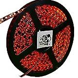 Smile Panda プロ仕様 24V LEDテープ レッド 赤 黒ベース 600連 5m 正面発光 防水 IP65 両端配線 ハンダ付不要 切断可能 強力粘着両面テープ