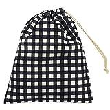 給食袋 黒×ギンガムチェック柄 男の子 女の子 巾着袋 小 ハンドメイド 日本製