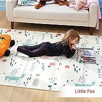 Infant Shining 折り畳み式ベビープレイマット 持ち運びが容易,防水,無毒,1-7歳,子供のゲームパッ (Little Fox, 195cm*145cm*1cm)