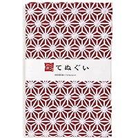 彩(irodori) 小紋手ぬぐい 麻型(エンジ) ほつれ防止加工なし 岡生地 32×90cm TE-06101-IR