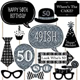 Adult 50th Birthday - Silver - Photo Booth Props Kit - 20 Count