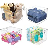 mDesign Plastic Storage Organizer, Holder Bin Box Handles Cube Furniture Shelving Organization Closet, Kid's Bedroom, Bathroo