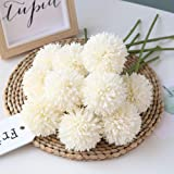 Homyu Artificial Flowers Chrysanthemum Ball Flowers Bouquet 10pcs Present for Important People Glorious Moral for Home Office
