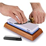 ROYI Premium Knife Sharpening Stone Kit, 2 Side 1000/6000 Grit Whetstone, Best Kitchen Blade Sharpener Stone, Non-Slip Bamboo