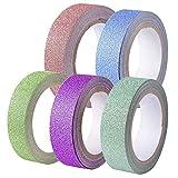 ReaseJoy マスキングテープ 15mm幅 x 5m 5巻セット キラキラ ラメ入り 5色 グリッターテープ